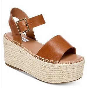 Cabo cognac leather platform espadrille wedges